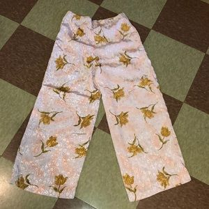 Vtg flowy floral satin pants high rise xs